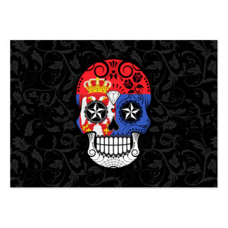 Serbian Flag Sugar Skull with Roses Business Card Template