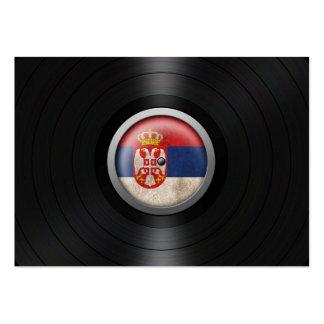 Serbian Flag Vinyl Record Album Graphic Business Cards