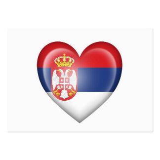 Serbian Heart Flag on White Business Card