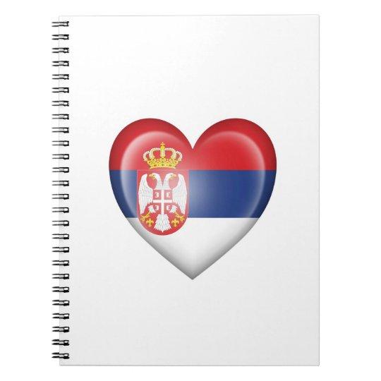 Serbian Heart Flag on White Notebooks