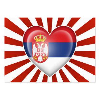 Serbian Heart Flag with Star Burst Business Card Templates