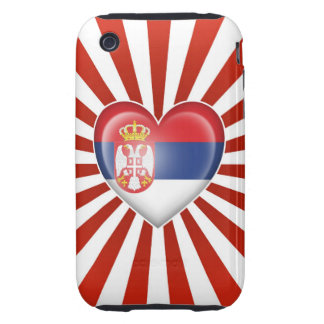 Serbian Heart Flag with Star Burst Tough iPhone 3 Cover