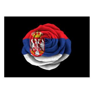 Serbian Rose Flag on Black Business Card Template
