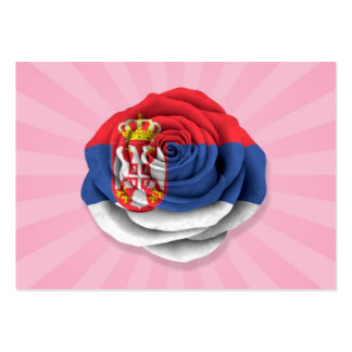 Serbian Rose Flag on Pink Business Card Templates
