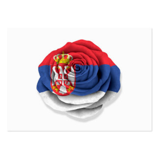 Serbian Rose Flag on White Business Cards