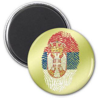 Serbian touch fingerprint flag 6 cm round magnet