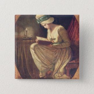 Serena (oil on canvas) 15 cm square badge