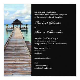 Serenade Jetty Maldives Beach Wedding -black Personalised Invitation