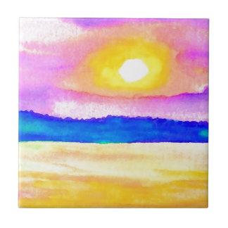 Serendipity Ocean Lake Sunset Art Small Square Tile