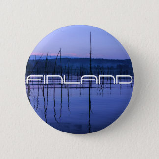 Serene and misty lake after heavy rain 6 cm round badge