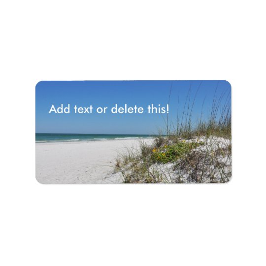 Serene Beach Sea Oats 2 Florida Beach Scene Label