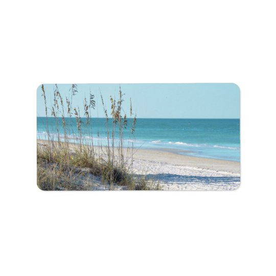 Serene Beach Sea Oats & Blue Water Address Label