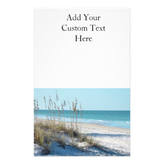 Serene Beach Sea Oats & Blue Water Customized Stationery