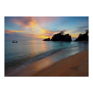 Serene Boat Floating by the Beach sunset  Poster