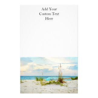 Serene Boat on Beach with Sea Oats Stationery