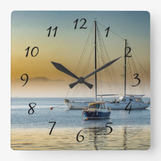 Serene Boats on Ocean Docked Clock