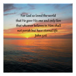 SERENE JOHN 3:16 SUNRISE PHOTO POSTER