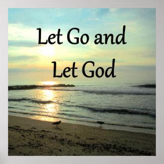 SERENE LET GO AND LET GOD OCEAN PHOTO POSTER
