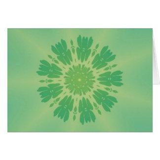 Serene Mellow Green Kaleidoscope Greeting Card