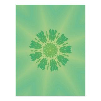 Serene Mellow Green Kaleidoscope Post Card