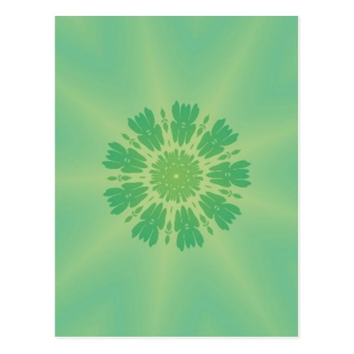 Serene Mellow Green Kaleidoscope Post Card