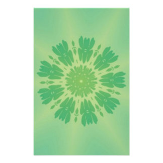 Serene Mellow Green Kaleidoscope Custom Stationery