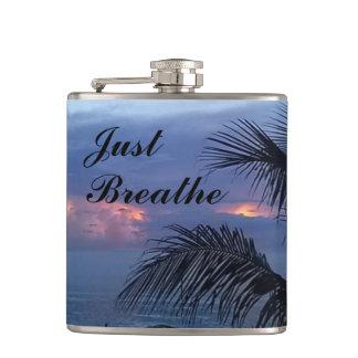 Serene Ocean Sunrise Palm Tree Flasks
