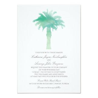 Serene Palm Tree Watercolor    Wedding Card