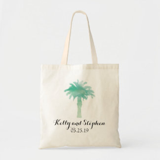 Serene Palm Tree Watercolor   Wedding Guest Bag