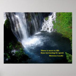 Serene Pool at a Waterfall Poster