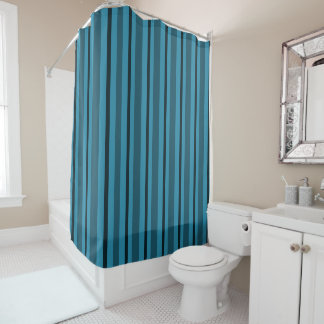Serene-Sea-Stripe's_Blue_Designer-Bath--Decor Shower Curtain