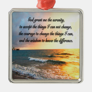 SERENE SERENITY PRAYER SUNRISE PHOTO DESIGN Silver-Colored SQUARE DECORATION