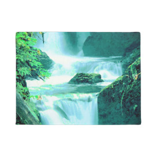 Serene Waterfall in Blue and Green Doormat