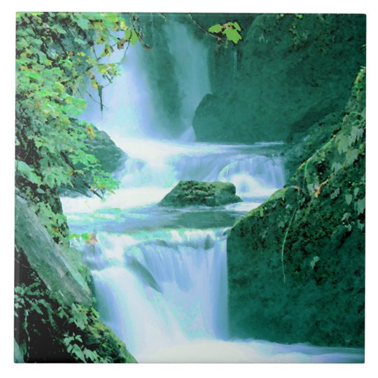 Serene Waterfall in Blue and Green Large Square Tile