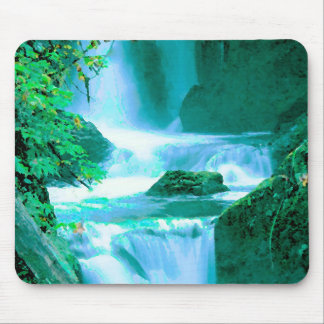 Serene Waterfall in Blue and Green Mouse Mat