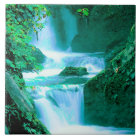 Serene Waterfall in Blue and Green Tile