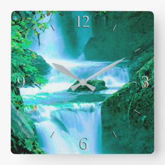 Serene Waterfall in Blue and Green Wallclocks