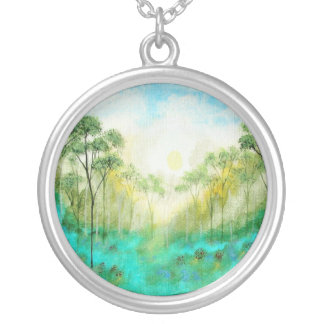 Serenety Abstract Landscape Art Trees Forest Round Pendant Necklace
