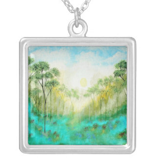 Serenety Abstract Landscape Art Trees Forest Square Pendant Necklace