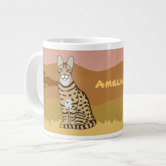 Serengeti Cat Breed African Savannah Personalized 20 Oz Large Ceramic Coffee Mug