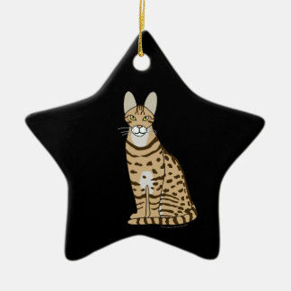 Serengeti Cat Breed Customizable Double-Sided Star Ceramic Christmas Ornament