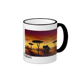 Serengeti Elephant Ringer Coffee Mug