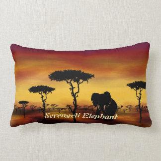 Serengeti Elephant Sunset Polyester Lumbar Pillow