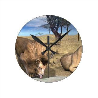 Serengeti Lions Wall Clock