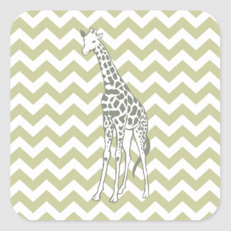 Serengeti Safari Chevron with Pop Art Giraffe Square Sticker
