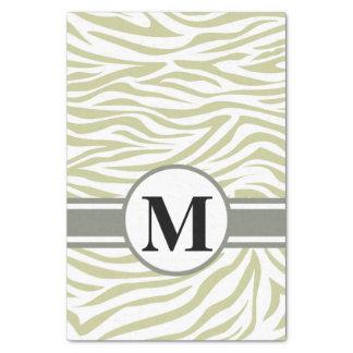 "Serengeti Safari Zebra with monogram 10"" X 15"" Tissue Paper"