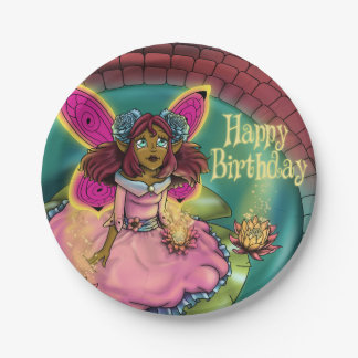 "Serenity Birthday Paper Plates 7"", Fairy"