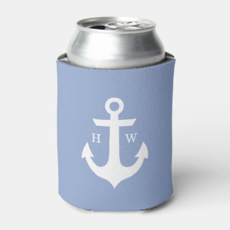 Serenity Blue Anchor Monogrammed Can Cooler