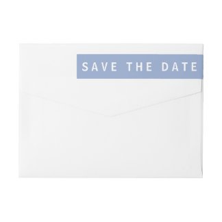 Serenity Blue Modern Save The Date Wrap Around Label