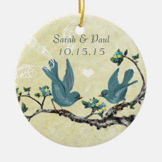 Serenity Blue Vintage Love Birds Christmas Round Ceramic Decoration